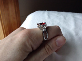 Square Red CZ with Round CZ Accents Stainless Steel Ring Size 6.75 image 5