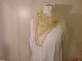 Square sheer light yellow fabric scarf with white word Florida and palm trees image 2