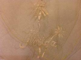 Square sheer light yellow fabric scarf with white word Florida and palm trees image 4