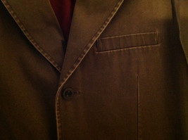 St. Johns Bay Olive Green Button Up Thigh Length Blazer  3 Front Pockets  Size L image 3