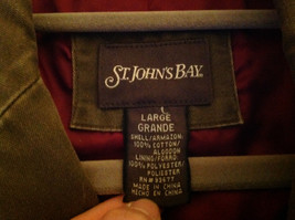 St. Johns Bay Olive Green Button Up Thigh Length Blazer  3 Front Pockets  Size L image 7