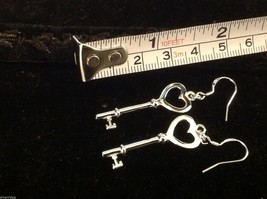 Sterling silver plated heart with key dangle earrings 925  sterling ear wires image 3