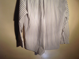 Strathmore White Striped Long Sleeve Buton Up Collared Dress Shirt Size 34 to 35 image 5