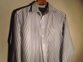 Strathmore White Striped Long Sleeve Buton Up Collared Dress Shirt Size 34 to 35 image 2