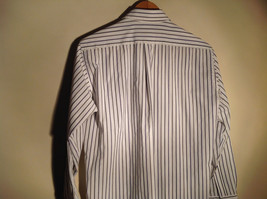 Strathmore White Striped Long Sleeve Buton Up Collared Dress Shirt Size 34 to 35 image 4
