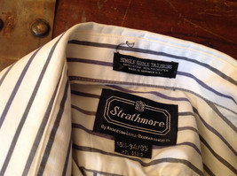 Strathmore White Striped Long Sleeve Buton Up Collared Dress Shirt Size 34 to 35 image 6