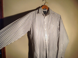 Strathmore White Striped Long Sleeve Buton Up Collared Dress Shirt Size 34 to 35 image 3