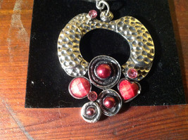 Striking Red Balls Crystals and Stones Silver Tone Scarf Pendant by Magic Scarf image 2
