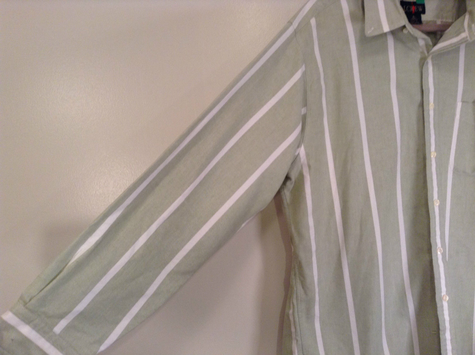 Striped Green Long Sleeve Button Up J Crew Shirt Excellent Condition Size Large
