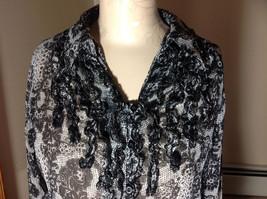 Studio 140 Black White Flowery Button Up Blouse V-Neck Size Medium image 2