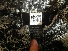 Studio 140 Black White Flowery Button Up Blouse V-Neck Size Medium image 6