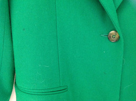 Stunning Bloomingdales Green Single Button Wool Blazer Front Pockets Size 10 image 5