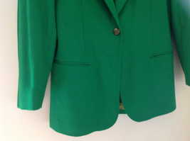 Stunning Bloomingdales Green Single Button Wool Blazer Front Pockets Size 10 image 3