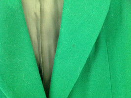 Stunning Bloomingdales Green Single Button Wool Blazer Front Pockets Size 10 image 6