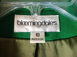 Stunning Bloomingdales Green Single Button Wool Blazer Front Pockets Size 10 image 8