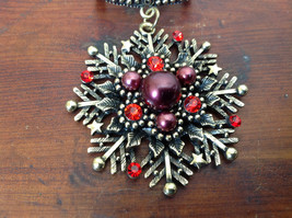 Stunning Gold Tone Scarf Pendant Snowflake Red Beads and Crystals Magic Scarf image 2