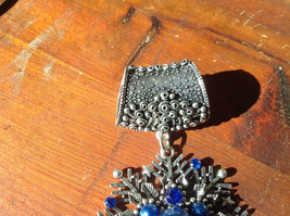 Stunning Silver Tone Snowflake with Blue Beads and Crystals Scarf Pendant image 3