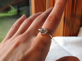 Stunning Heart Shaped CZ w 2 side CZ baguettes Gold Plated Ring Size 6 image 3