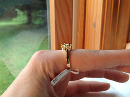 Stunning Heart Shaped CZ w 2 side CZ baguettes Gold Plated Ring Size 6 image 5