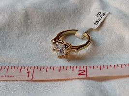 Stunning Heart Shaped CZ w 2 side CZ baguettes Gold Plated Ring Size 6 image 7