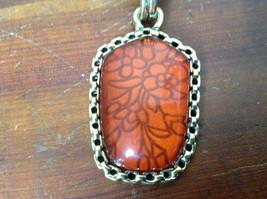 Stunning Vintage Style Gold Tone Scarf Pendant with Large Amber Stone image 2
