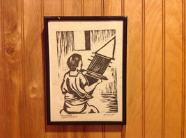 TWO Original Wood cut block prints Black Frames Guatemalan Artist image 2