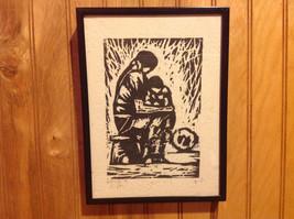 TWO Original Wood cut block prints Black Frames Guatemalan Artist image 3