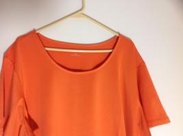 Susan Graver Orange Scoop Neck Short Sleeve Shirt Light Soft Material Size 3X image 2