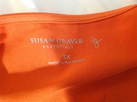 Susan Graver Orange Scoop Neck Short Sleeve Shirt Light Soft Material Size 3X image 5