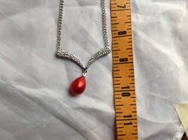 Swarovski Silver tone white stone red bubble pendent necklace image 6