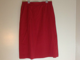 Talbots Red mid calf pleated skirt front pocker zipper button closure size 18 image 4