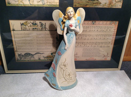 Tall Mira Flora Handcrafted Resin Angel Figurine Holding Flower Colorful image 2