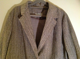 Tan Brown Tweed Like Design Button Up Blazer Alfred Dunner Size 18 image 2
