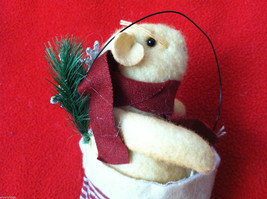"""Tan Christmas Mouse in """"Believe"""" Red/White Striped Fabric Hat Ornament image 2"""