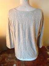 Tan Metallic Liz Claiborne Three Quarter Length Sleeve Length Shirt Size XL image 3