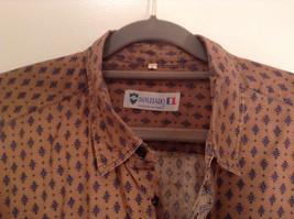 Tan Dark Blue Patten Souleiado Button Up Shirt Size 5 European Made in France image 3