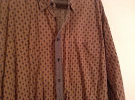 Tan Dark Blue Patten Souleiado Button Up Shirt Size 5 European Made in France image 4