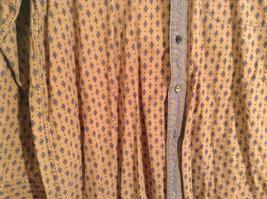 Tan Dark Blue Patten Souleiado Button Up Shirt Size 5 European Made in France image 5