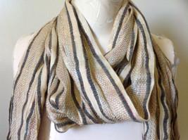 Tan Striped Rainbow Metallic Stripes Tasseled Fashion Scarf No Tag image 2