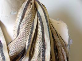 Tan Striped Rainbow Metallic Stripes Tasseled Fashion Scarf No Tag image 7