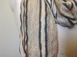 Tan Striped Rainbow Metallic Stripes Tasseled Fashion Scarf No Tag image 5