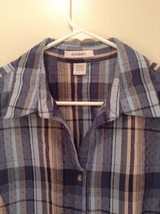 Tan Teal Plaid Button Up Dressbarn Top Size L Three Quarter Length Sleeves image 2