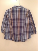Tan Teal Plaid Button Up Dressbarn Top Size L Three Quarter Length Sleeves image 6
