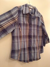 Tan Teal Plaid Button Up Dressbarn Top Size L Three Quarter Length Sleeves image 5