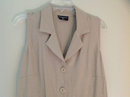 Tan Sleeveless Button Up Dress by Cimmaron Collared V Neckline Size 16 image 2