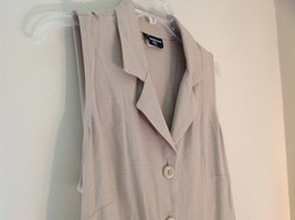 Tan Sleeveless Button Up Dress by Cimmaron Collared V Neckline Size 16 image 5