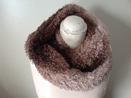 Tan and Brown Chocolate Faux Curly Lamb Infinity Scarf See Measurements Below image 3