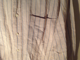 Tan with Blue Stripes Button Up Long Sleeve Dress Shirt Eddie Bauer Size Large image 2