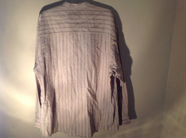 Tan with Blue Stripes Button Up Long Sleeve Dress Shirt Eddie Bauer Size Large image 9