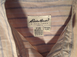 Tan with Blue Stripes Button Up Long Sleeve Dress Shirt Eddie Bauer Size Large image 7